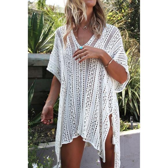 6de06ebaf Swim | Boho White Crochet Knit Tassel Coverup Beach | Poshmark